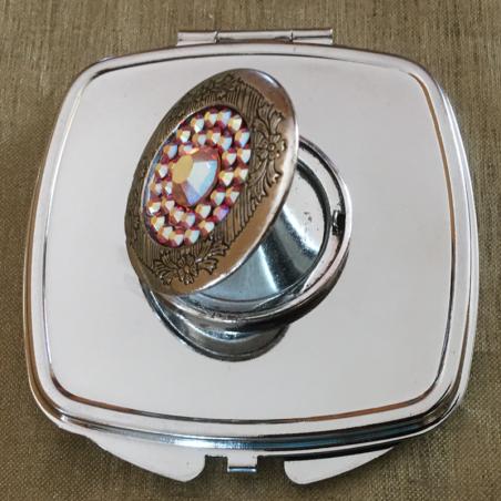 Miroir de sac Cristal de swarovski HYACINTH AB, porte photo de luxe argent décoration artisanale ouvert 2
