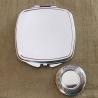 Miroir de sac Cristal de swarovski HYACINTH AB, porte photo de luxe argent décoration artisanale base