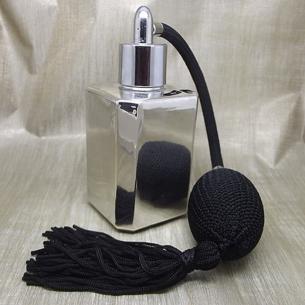 Vaporisateur de parfum poire noire effet miroir argent carré 55 ml Poire rétro longue - Au pays des senteurs