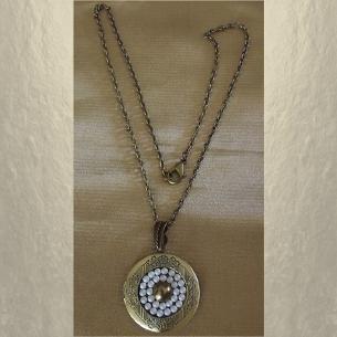 Collier pendentif porte photo Cristal de SWAROVSKI bronze artisanal  - 2