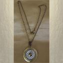 Collier pendentif porte photo CRISTAL DE SWAROVSKI FROSTED AB métal bronze entier