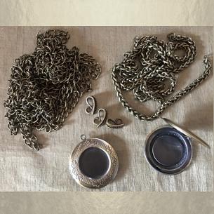 Collier pendentif porte photo Cristal de SWAROVSKI bronze artisanal  - 6