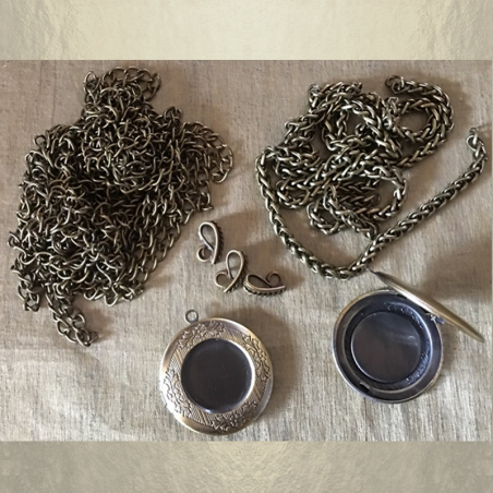 Collier pendentif porte photo métal bronze groupé