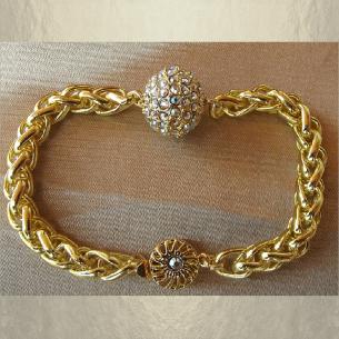 Bracelet CRISTAL DE SWAROVSKI  boule Mesh Ball JONQUIL AB modèle gourmette artisanal plaqué or