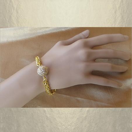Bracelet CRISTAL DE SWAROVSKI  boule Mesh Ball JONQUIL AB modèle gourmette artisanal plaqué or porté