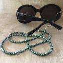 Collier CRISTAL DE SWAROVSKI, cordon à lunettes 2 en 1 artisanal Scarabaeus green