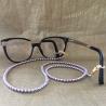 Collier CRISTAL DE SWAROVSKI, cordon à lunettes CRISTAL DE SWAROVSKI 2 en 1 perles MAUVE CRISTAL DE SWAROVSKI sur lunettes