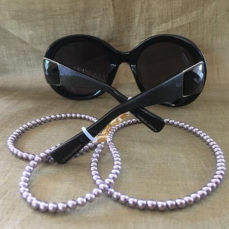 Collier CRISTAL DE SWAROVSKI, cordon à lunettes CRISTAL DE SWAROVSKI 2 en 1 perles MAUVE CRISTAL DE SWAROVSKI avec lunettes