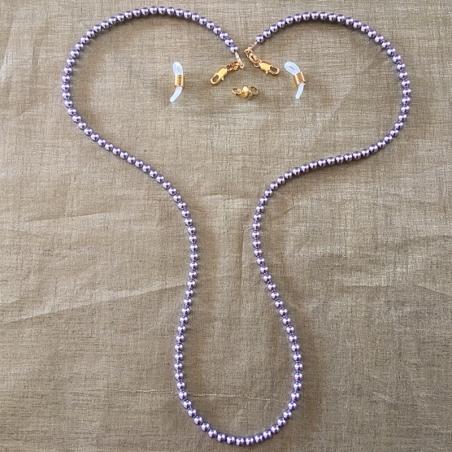 Collier CRISTAL DE SWAROVSKI, cordon à lunettes 2 en 1 artisanal Mauve