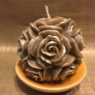 Bougie  décorative sculpture boule de roses artisanale cire naturelle de soja parfum 104 aurati