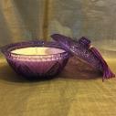 Bougie parfumée artisanale bonbonnière parfum violette pompon artisanal