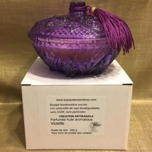 Bougie cire naturelle parfum violette  sucrier en verre, Artisanal dans sa boite cadeau