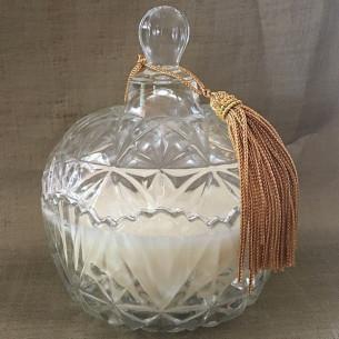 Bougie parfumée pomme & cannelle artisanale bonbonnière cire naturelle de soja pompon artisanal
