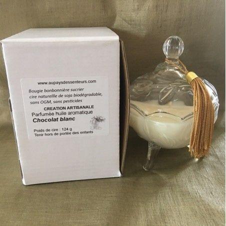 Bougie parfumée artisanale bonbonnière sucrier en verre sur pied dans boîte et papier de soie