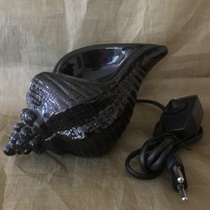 Lampe diffuseur de parfum coquillage noir en céramique artisanale  - 1