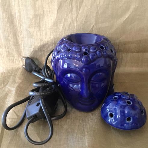 lampe diffuseur de parfum artisanale en céramique bouddha bleu