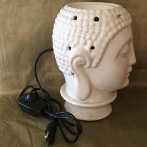 Lampe diffuseur de parfum bouddha artisanale en céramique profil