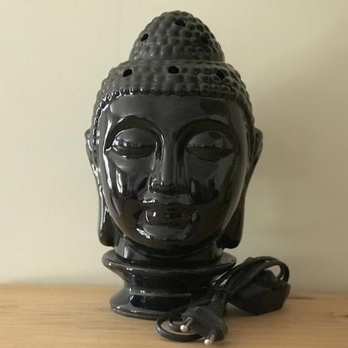 Lampe diffuseur de parfum électrique pour galets cire en céramique bouddha noir artisanal  - 1
