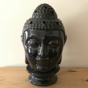 Lampe diffuseur de parfum électrique pour galets cire en céramique bouddha noir artisanal  - 2