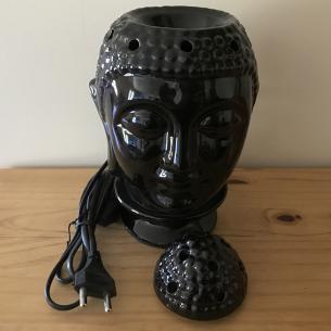 Lampe diffuseur de parfum électrique pour galets cire en céramique bouddha noir artisanal  - 3