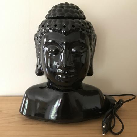 Lampe diffuseur de parfum buste bouddha noir 31 cm artisanale
