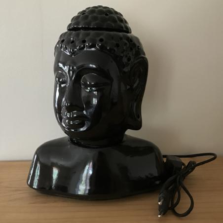 Lampe diffuseur de parfum buste bouddha noir 31 cm artisanale profil