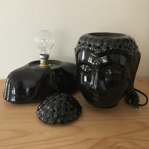 Lampe diffuseur de parfum buste bouddha noir 31 cm artisanale  - 3