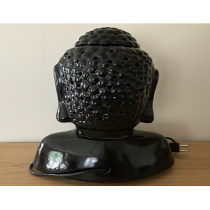 Lampe diffuseur de parfum buste bouddha noir 31 cm artisanale  - 4