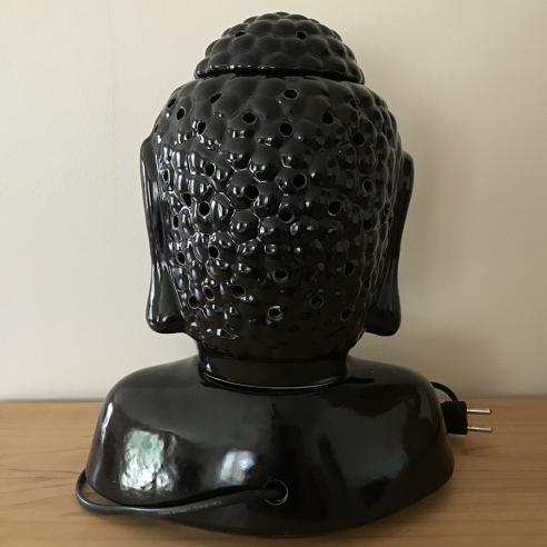 Lampe diffuseur de parfum buste bouddha noir 31 cm céramique  artisanale dos