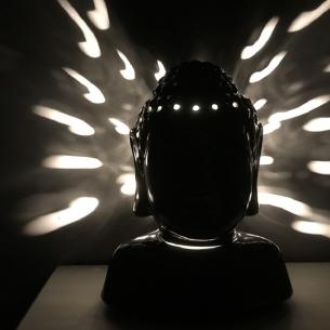 Lampe diffuseur de parfum buste bouddha noir 31 cm artisanale  - 5