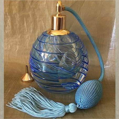 Vaporisateur de parfum poire bleu de luxe verre artisanal 110 ml vide et rechargeable
