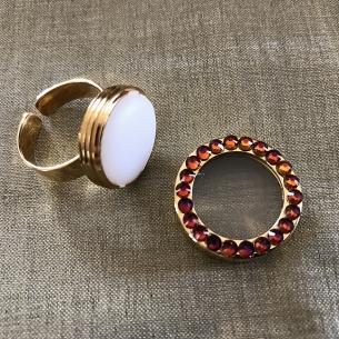 Parfum solide bague cristal de Swarovski artisanale plaqué or ouverte