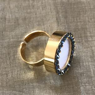 Parfum solide bague cristal de Swarovski artisanale plaqué or profil