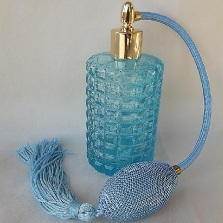 Vaporisateur de parfum poire, vide et rechargeable modèle verre bleu rétro 100 ml