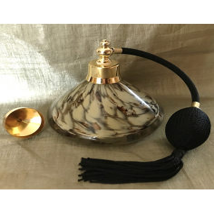 Vaporisateur de parfum poire de luxe verre artisanal 90 ml marbré et or vide et rechargeable avec entonnoir métal or