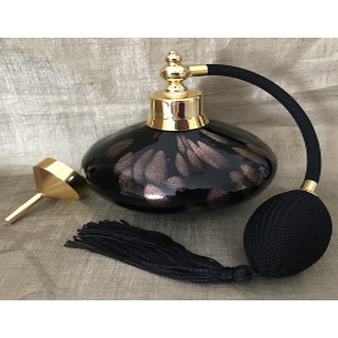 Vaporisateur de parfum poire de luxe verre artisanal 210 ml vide et rechargeable avec entonnoir en métal or