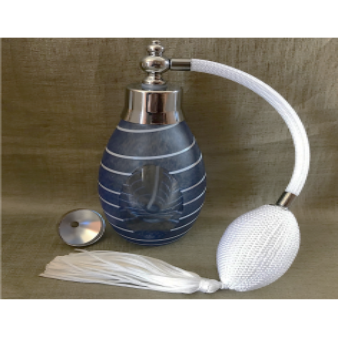 Vaporisateur de parfum poire artisanal de luxe en verre bleu 60 ml