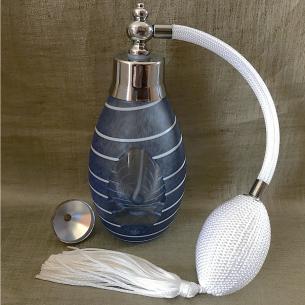 Vaporisateur de parfum luxe en verre bleu 60 ml Luxe verre artisanal - Au pays des senteurs