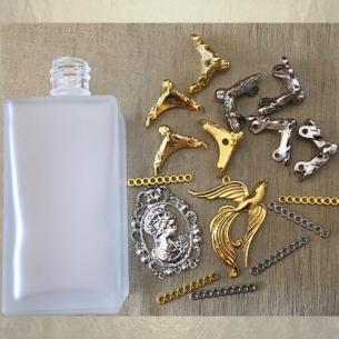 copy of Vaporisateur de parfum poire sur pied argent CRISTAL DE SWAROVSKI camé rectangle givré 100ml  - 4