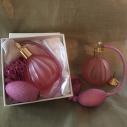 Vaporisateur de parfum en Cristal vide et rechargeable 90ml vieux rose avec poire dans coffret cadeau avec petit entonnoir