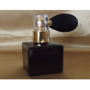 Vaporisateur de poudre pour le corps poire rétro vide et rechargeable modèle verre noir carré 50 ml