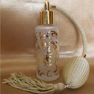 Vaporisateur de parfum verre givré poire rétro or plaquage motifs couleur or 50ml  - 1