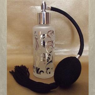 Vaporisateur de parfum verre givré poire rétro noire plaquage motifs couleur argent 50ml  - 1