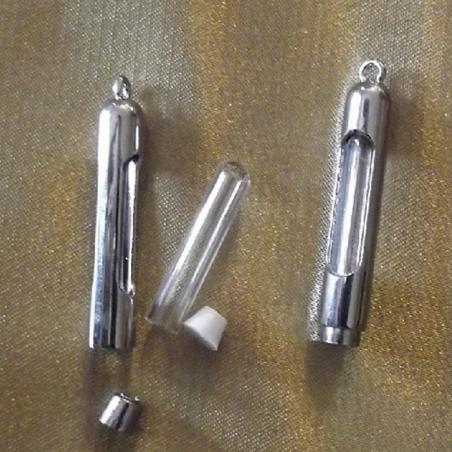 Pendentif Fiole à parfum en verre et métal argent forme droite