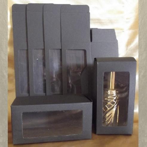 Boite / Emballage cadeaux noir avec fenêtre PVC transparente 6x 6 x 12 cm  - 1
