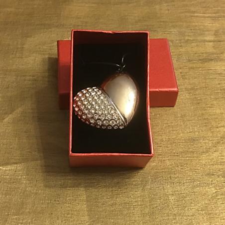 Clé USB Cœur diamanté 16 GO, 32 GO couleur argent