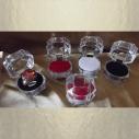 Écrin bague plastique cristal transparent 3 couleurs au choix