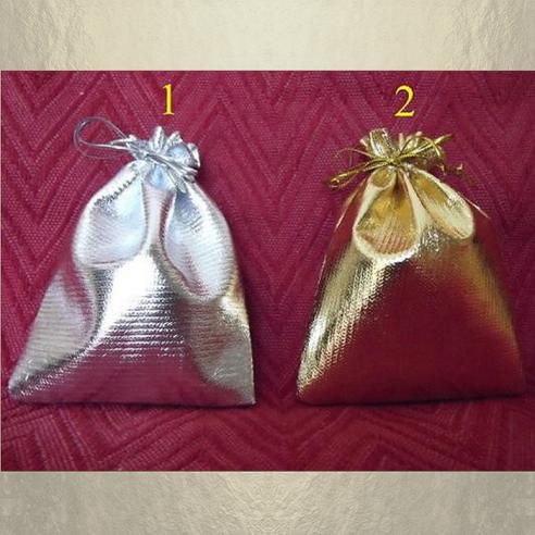 Pochettes / sac  couleur or ou argent 10 x 12 cm  - 1