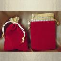 Pochette / sac / pochon en velours rouge avec bordure couleur or et petites perles cordon or 11,5 x 8,5 cm