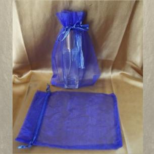 Pochettes cadeaux,  sac en organza 22 x 16,5 cm bleu grande contenance  - 1